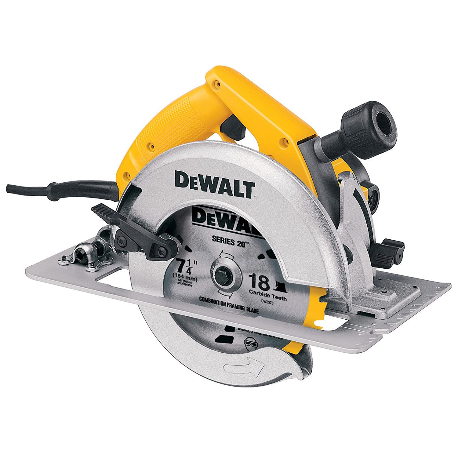 Dewalt dw364 7 14 inch circular saw with electric brake and rear dewalt dw364 7 14 inch circular saw with electric brake and rear pivot depth of cut adjustment power circular saws amazon greentooth Image collections