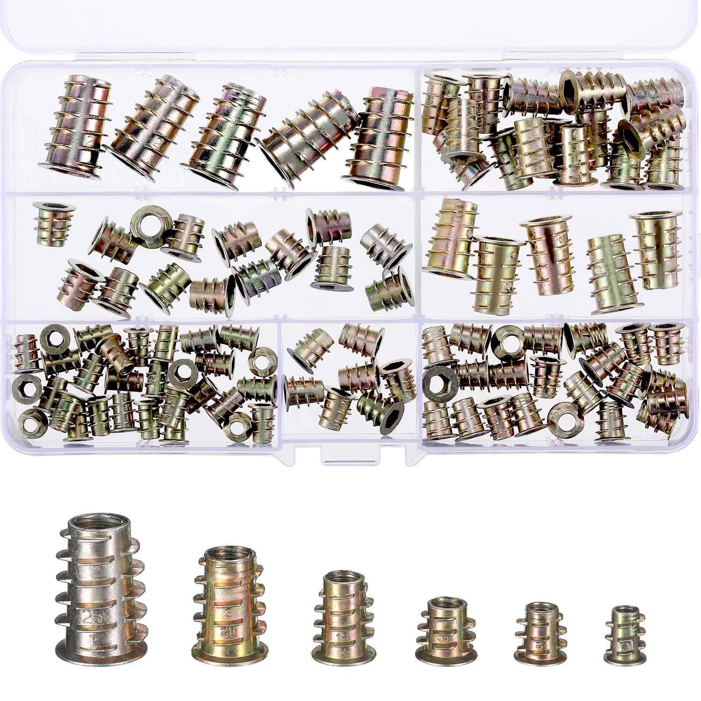 100 Pieces M4/ M5/ M6/ M8/ M10 Zinc Alloy Furniture Hex Socket Screw Inserts Threaded Insert Nuts Assortment Tool Kit for Wood Furniture TecUnite