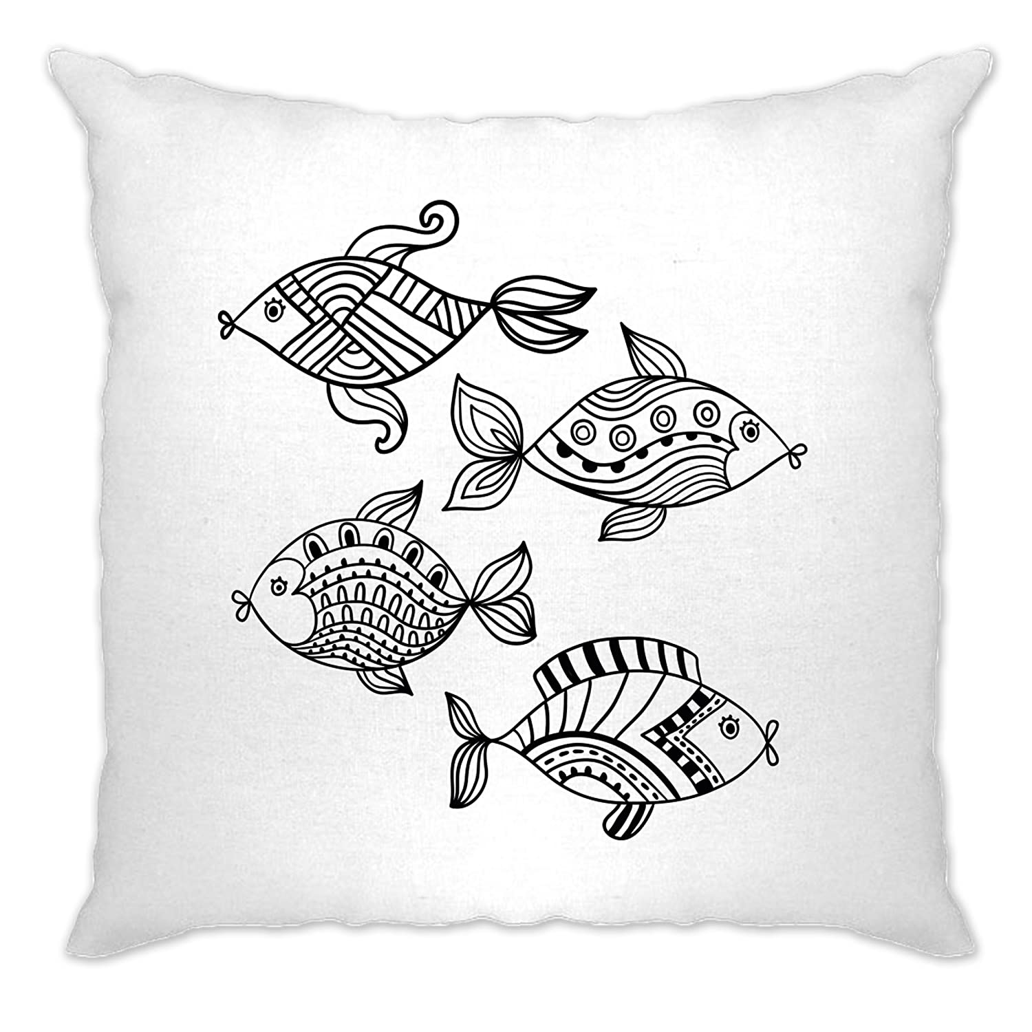 Adult Colouring Cushion Cover Four Fish [Pens Included] White One Size A-CC-01970-WHT