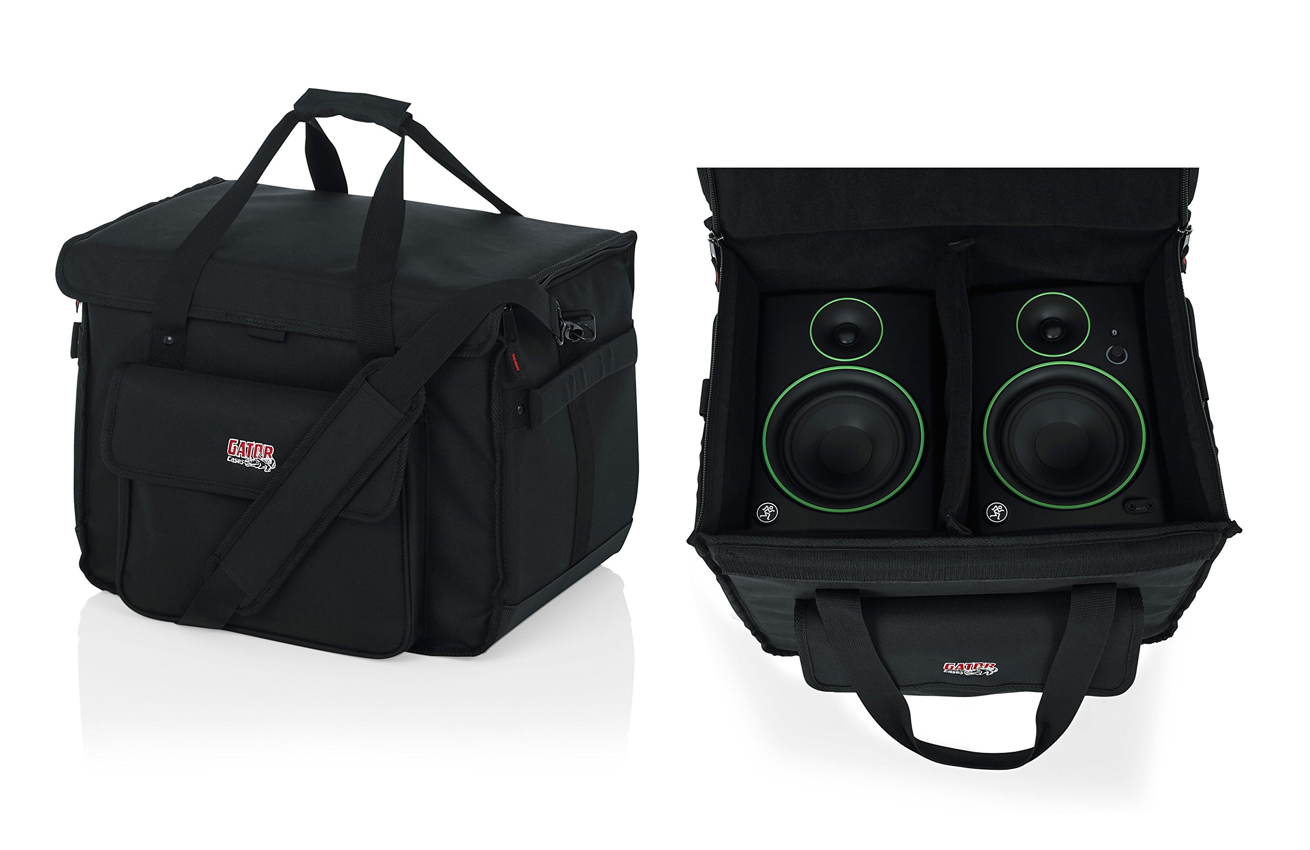 Gator Cases Studio Monitor Tote Bag Holds (2) Powered Monitors Up to 5'' Driver Range; Fits JBL, Mackie, KRK, & More (G-STUDIOMON1) by Gator