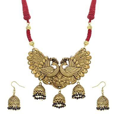 62529748230a Buy Aadita Fashion Jewellery Gold Plated Non-Precious Metal Alloy Heavy  Rajwadi Choker Peacock Design Necklace Set with Earrings for Women Online  at Low ...