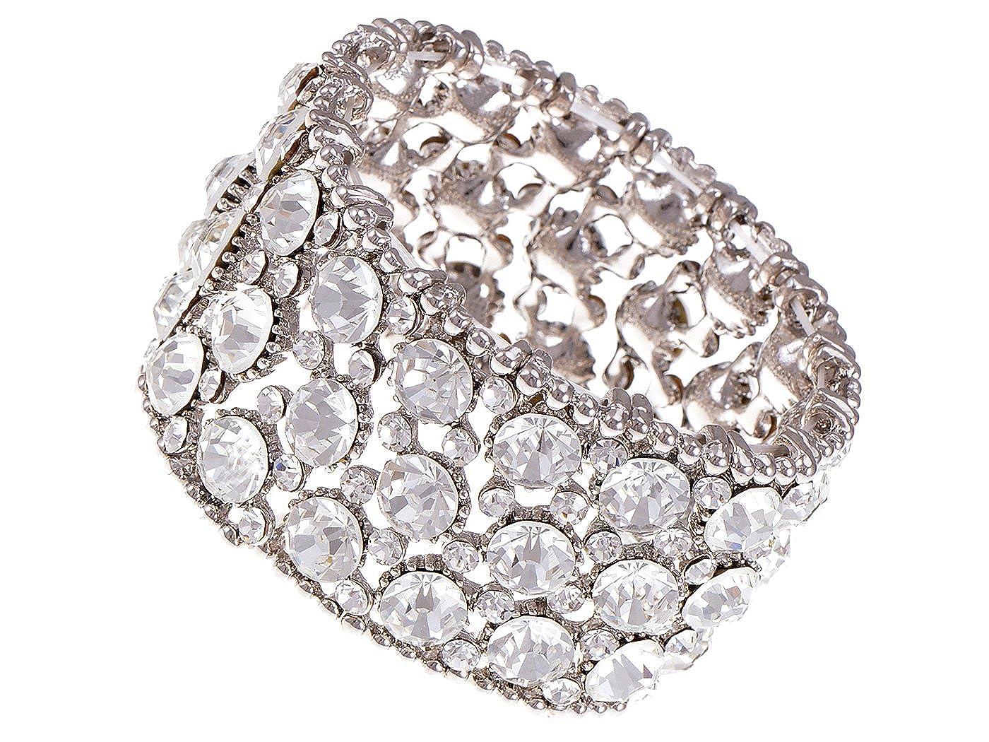 Alilang Chunky Statement Silveryy Shiny Crystal Rhinestone Fashion Bracelet Bangle Cuff S0613