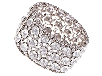 Image Unavailable. Image not available for. Color  Alilang Chunky Statement  Silver Shiny Crystal Rhinestone Fashion Bracelet Bangle Cuff 944343820fb2