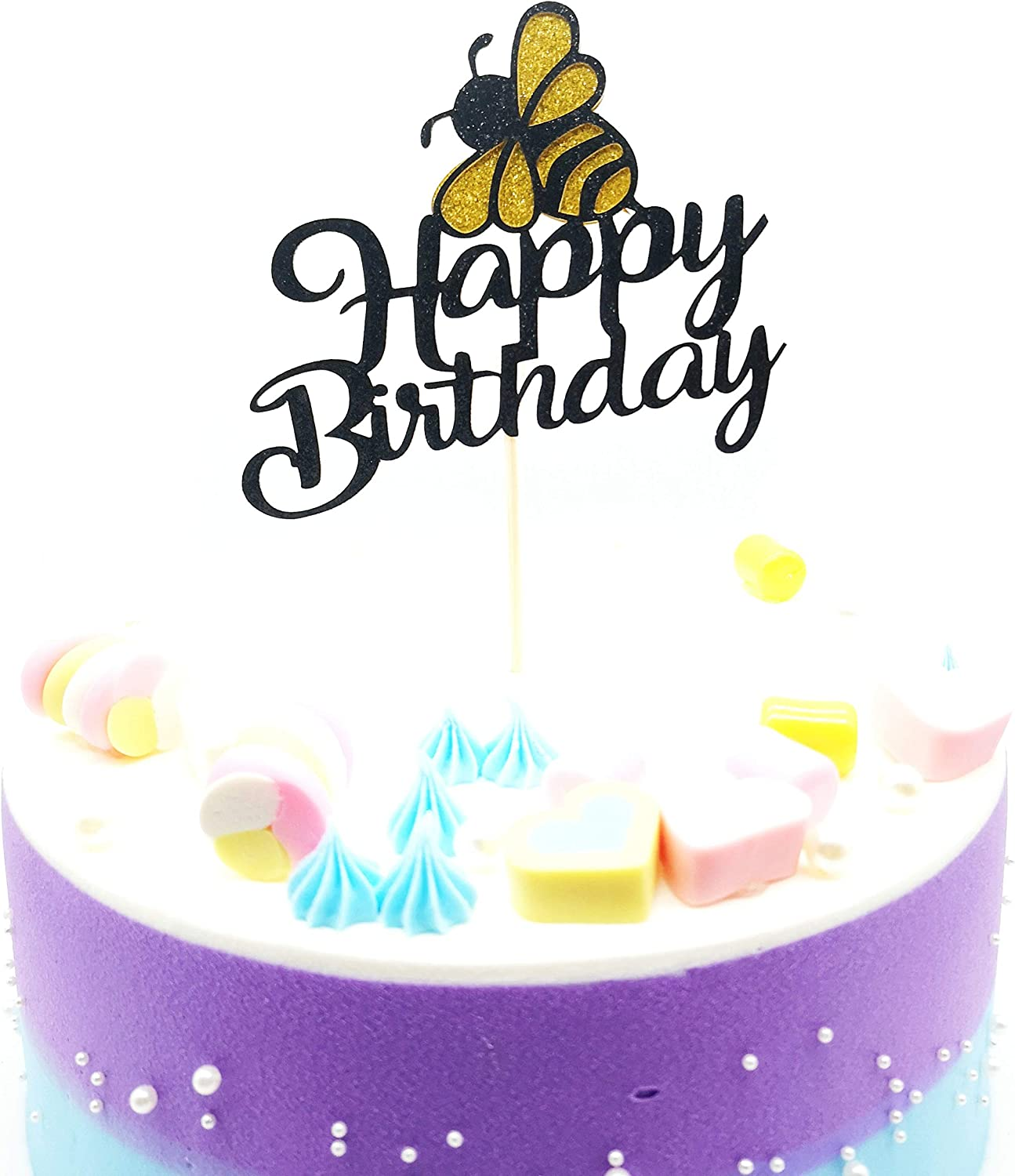 HNHPE Happy birthday Bee Cake Topper Bee Themed Happy Birthday Party Decorations