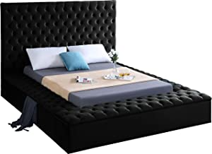 Meridian Furniture Bliss Collection Modern | Contemporary Velvet Upholstered Bed with Deep Button Tufting and Storage Compartments in Rails and Footboard, Black, Queen