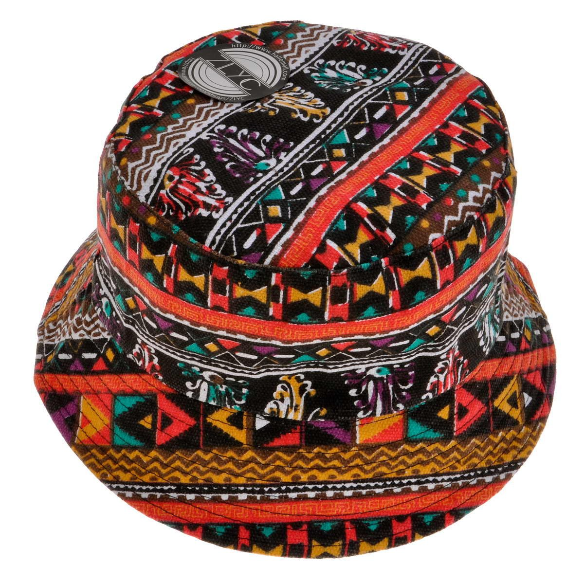 ZLYC Fashion Tribal Bucket Hat Summer Fisherman Cap For Women Men Teens, Red ZYJ-MZ-093-RD