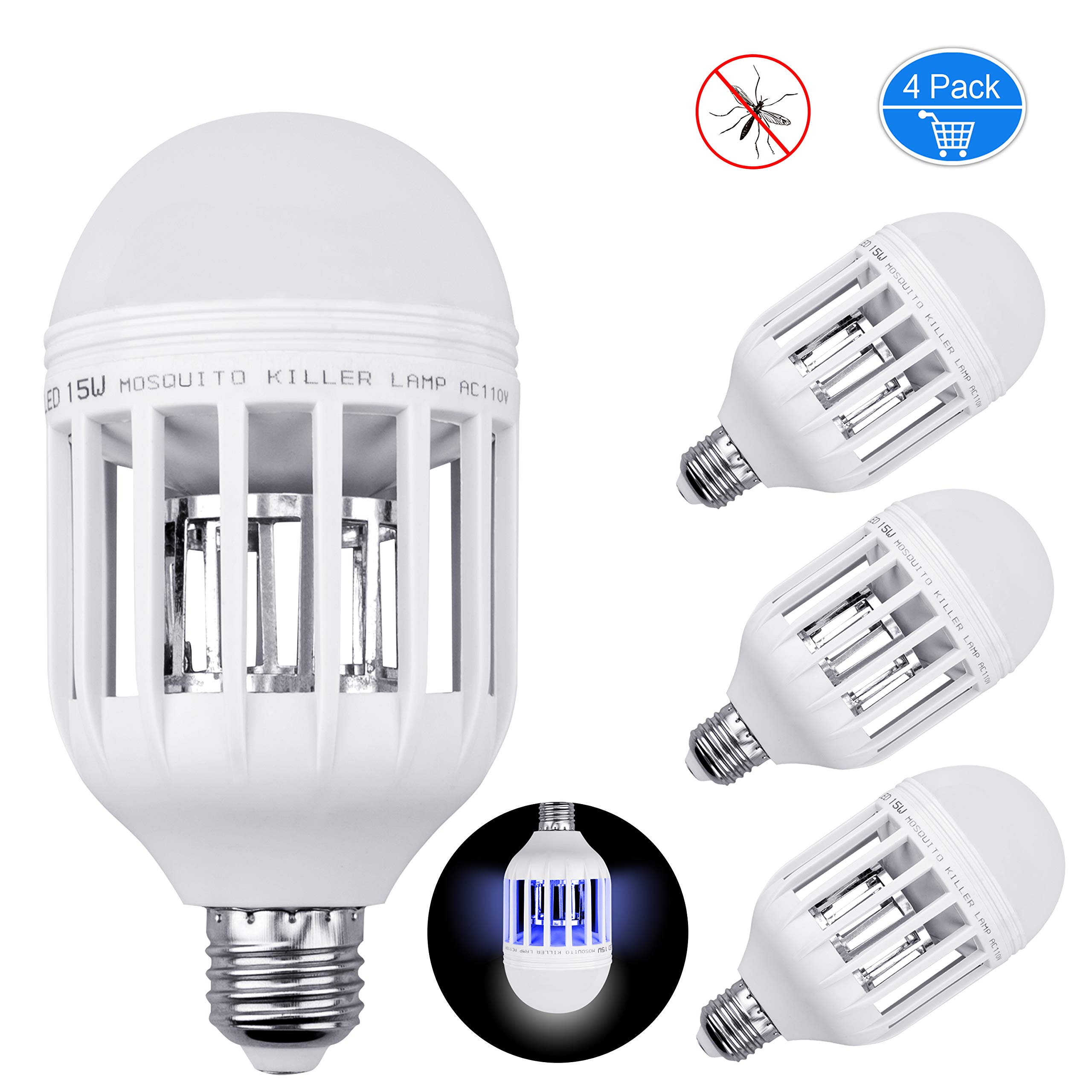 Inpher 4 Pack Bug Zapper Light Bulb, UV LED Mosquito Killer Lamp 1200LM 15W 2 in 1 Electronic Insect Killer, Fits in 110V E26 E27 Repellent Bulb Socket Base for Indoor Outdoor Porch Patio Backyard by Inpher