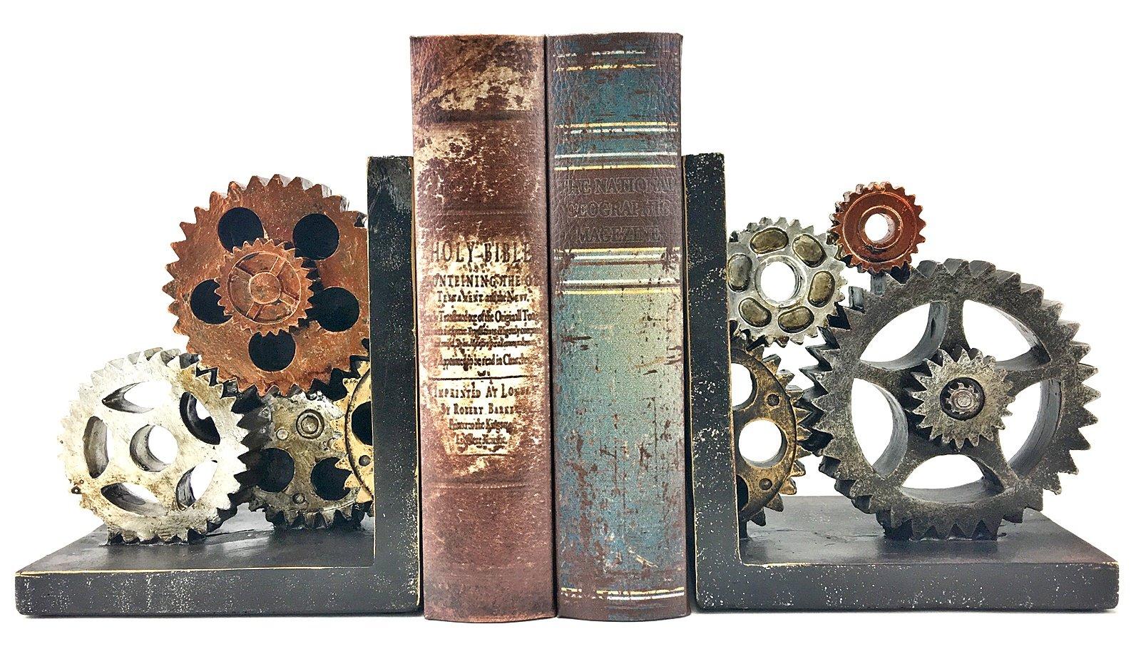 Bellaa 20881 Gear Bookends Industrial Vintage Style 6''