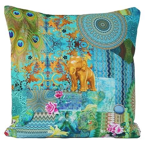 De elefante y Castel funda para cojín verde diseño de flores ...