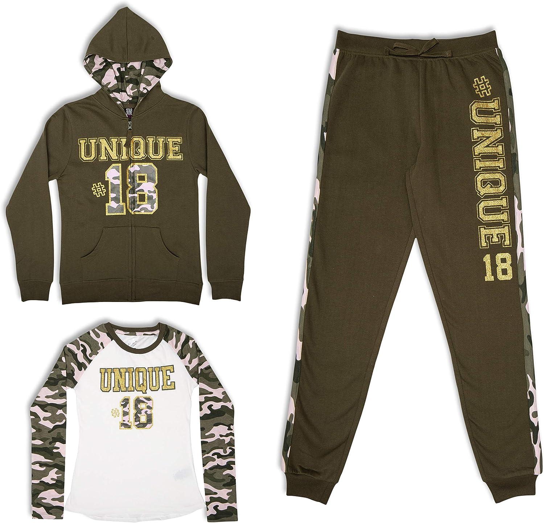 Raglan T-Shirt and Jogger Sweatpant Set Star Ride Girls 3-Piece Hoodie