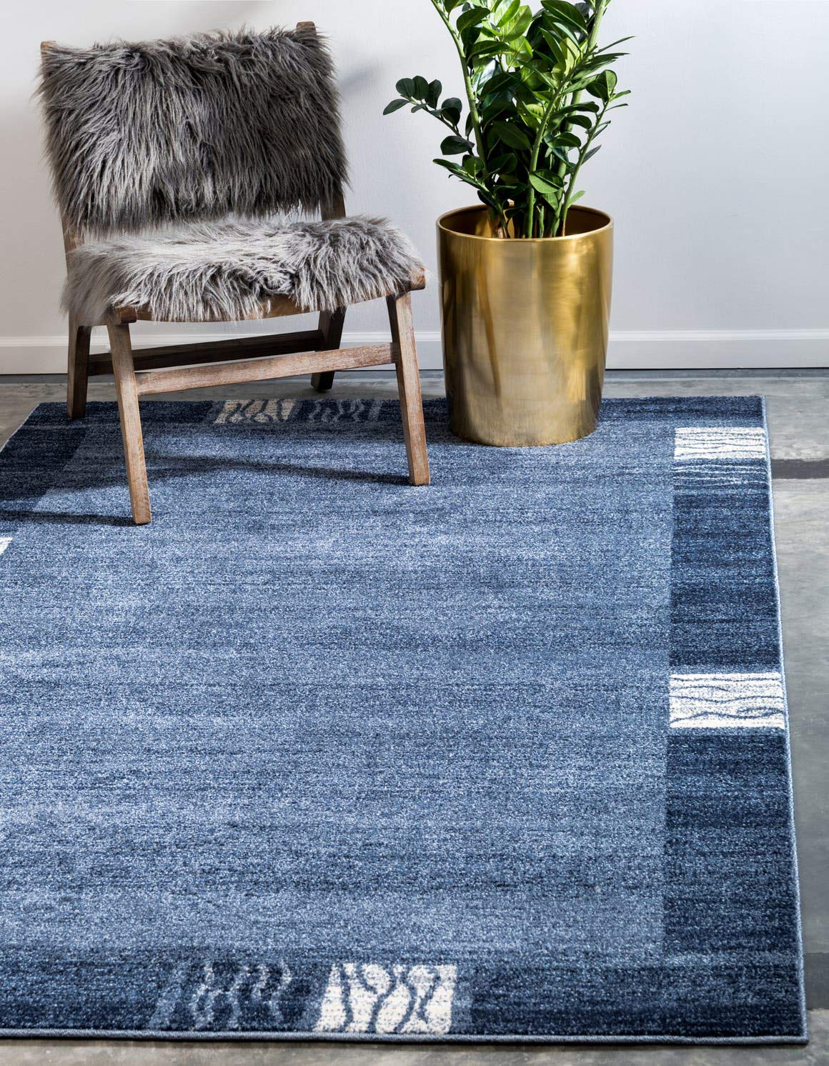 Unique Loom Del Mar Collection Contemporary Transitional Light Blue Area Rug 5 0 x 8 0