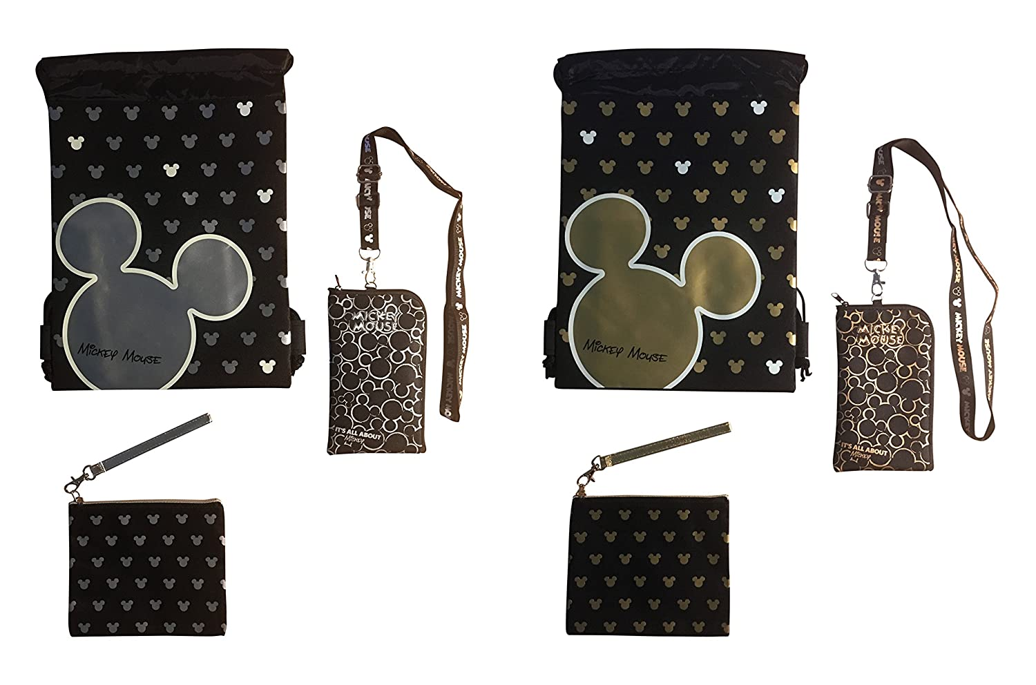 4d9ffc0e0d8 Disney Mickey Mouse Glow in the Dark Drawstring Backpack - Lanyard -  Wristlet Bundle (Varied