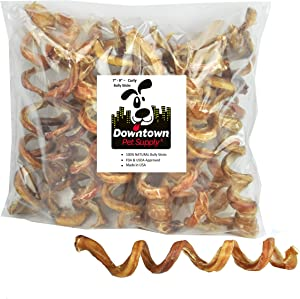 "Downtown Pet Supply 7"" - 9"" Curly Spiral Bully Sticks, Bully Springs for Dogs Made in USA - Regular Select Thick – Odorless Dog Chew Treats, (5 Pack)"