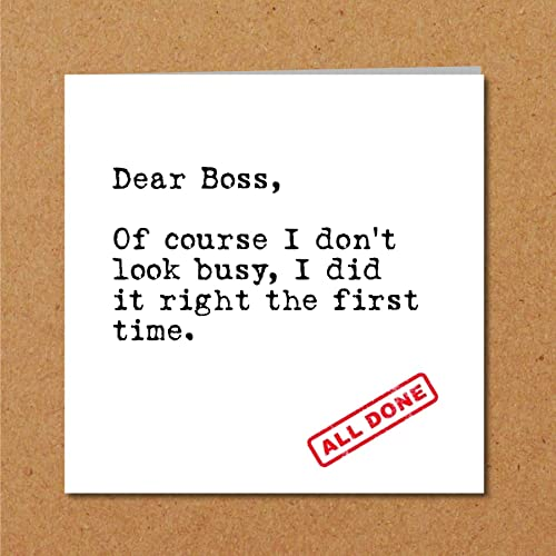 BOSS CARD For Boss Employer Or Colleague Funny Humorous Amusing Quotation Quote True Truth Work Amazoncouk Handmade