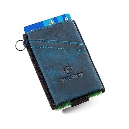 JIVANER Ultra Slim: Cartera Hombre de Piel Azul - Cartera Minimalista - Tarjetero RFID Bloqueo - Billetera Monedero pequeña y Delgada - Mini ...