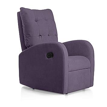 SUENOSZZZ-ESPECIALISTAS DEL DESCANSO Sillon Relax reclinable Soft tapizado Tela Antimanchas Color Lila | Sillon reclinable butaca Relax | Sillon ...