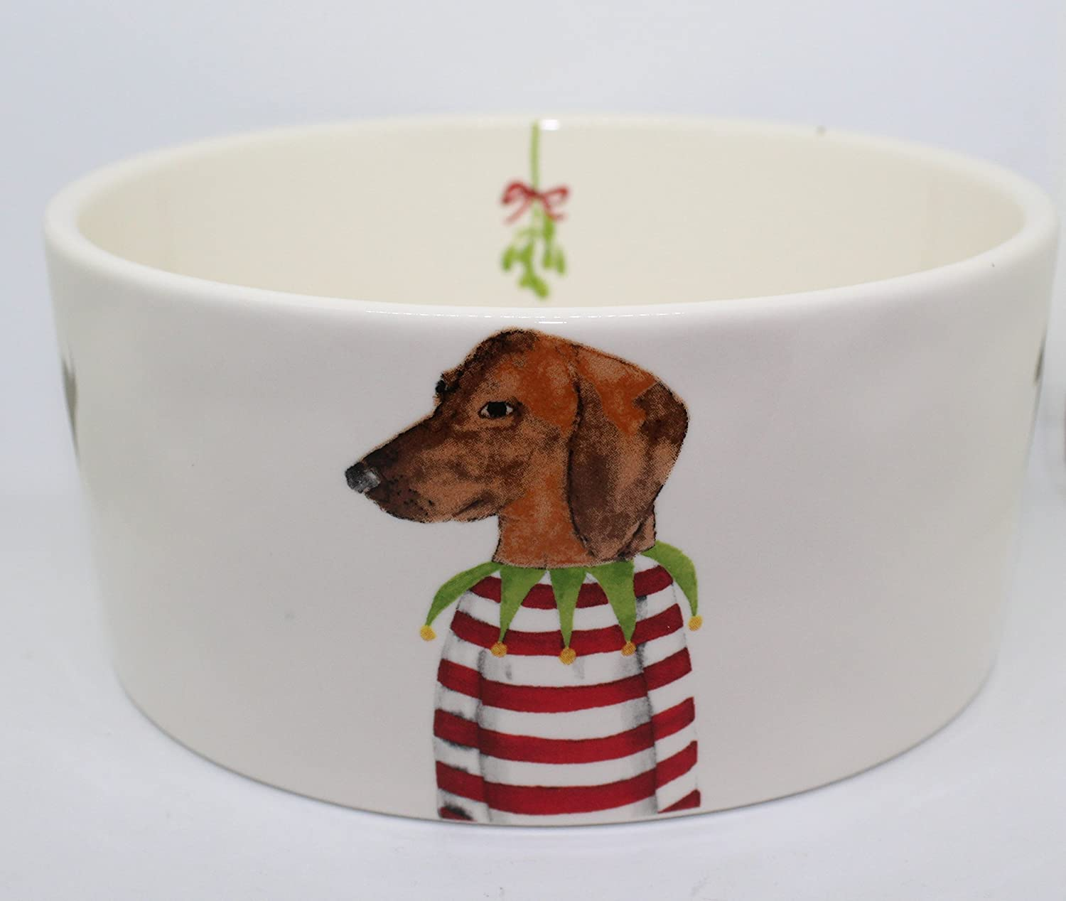 RARE Rae Dunn by Magenta Christmas Dachshund in Striped Sweater with Mistletoe on interior 6 inch Pet Dog Cereal Soup Bowl.