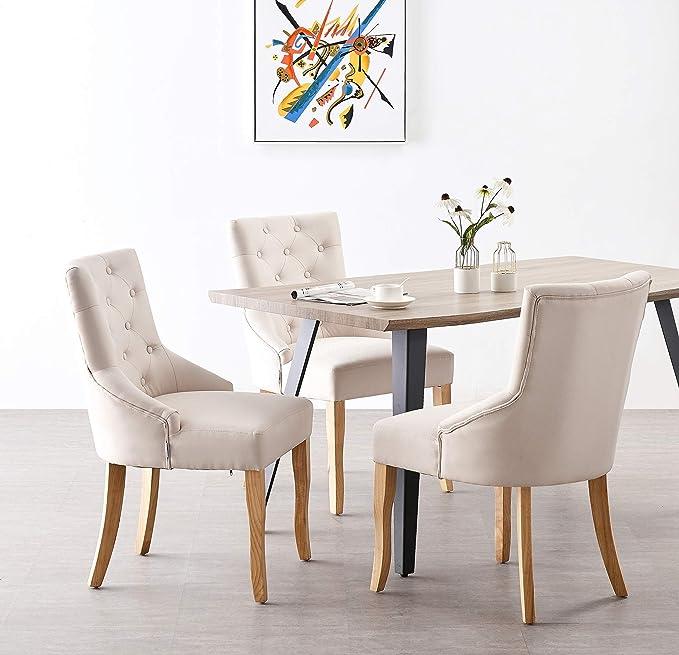 P&N Homewares Kensington Lot de 2 Chaises Capitonnées en Tissu Beige Pieds en Bois Design & Classique Salle à Manger, Salon ou Chambre