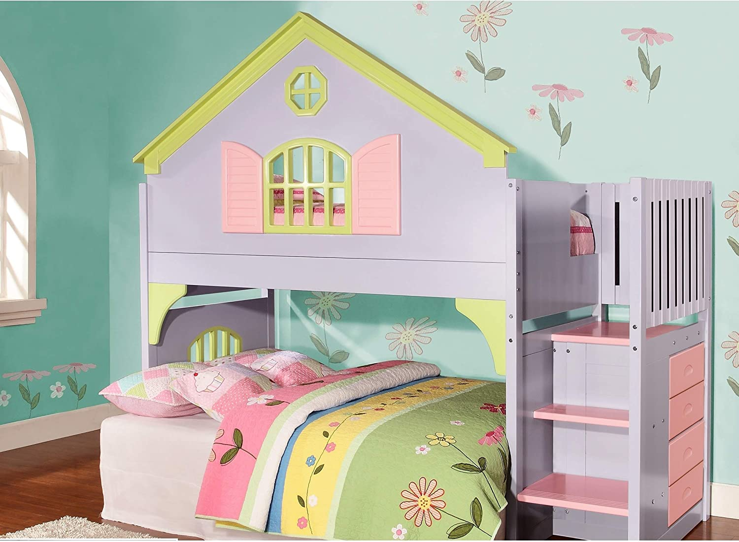 Amazon.com: Donco Kids Twin Doll House Loft Bed with Staircase ...