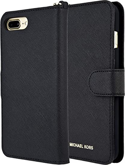 eab064b28b8f Amazon.com  Michael Kors Saffiano Leather Folio for AiPhone 8 Plus 7 Plus  5.5 - Black  Cell Phones   Accessories