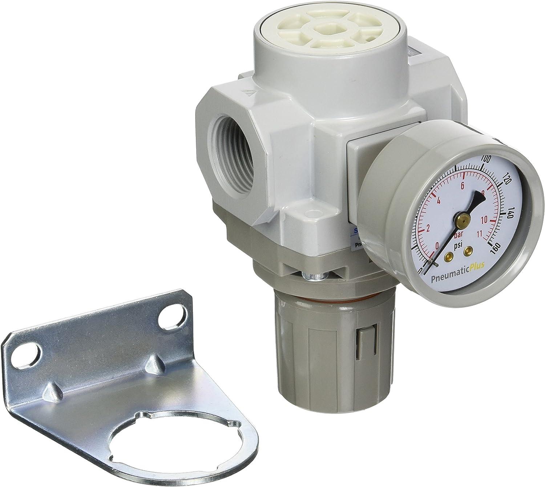 PneumaticPlus SAR4000M-N06BG Air Pressure Regulator 3//4 NPT with Gauge /& Bracket