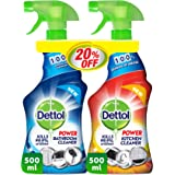 Dettol Orange Power Kitchen Cleaner Spray & Power Bathroom Cleaner, 500 ml + 500 ml