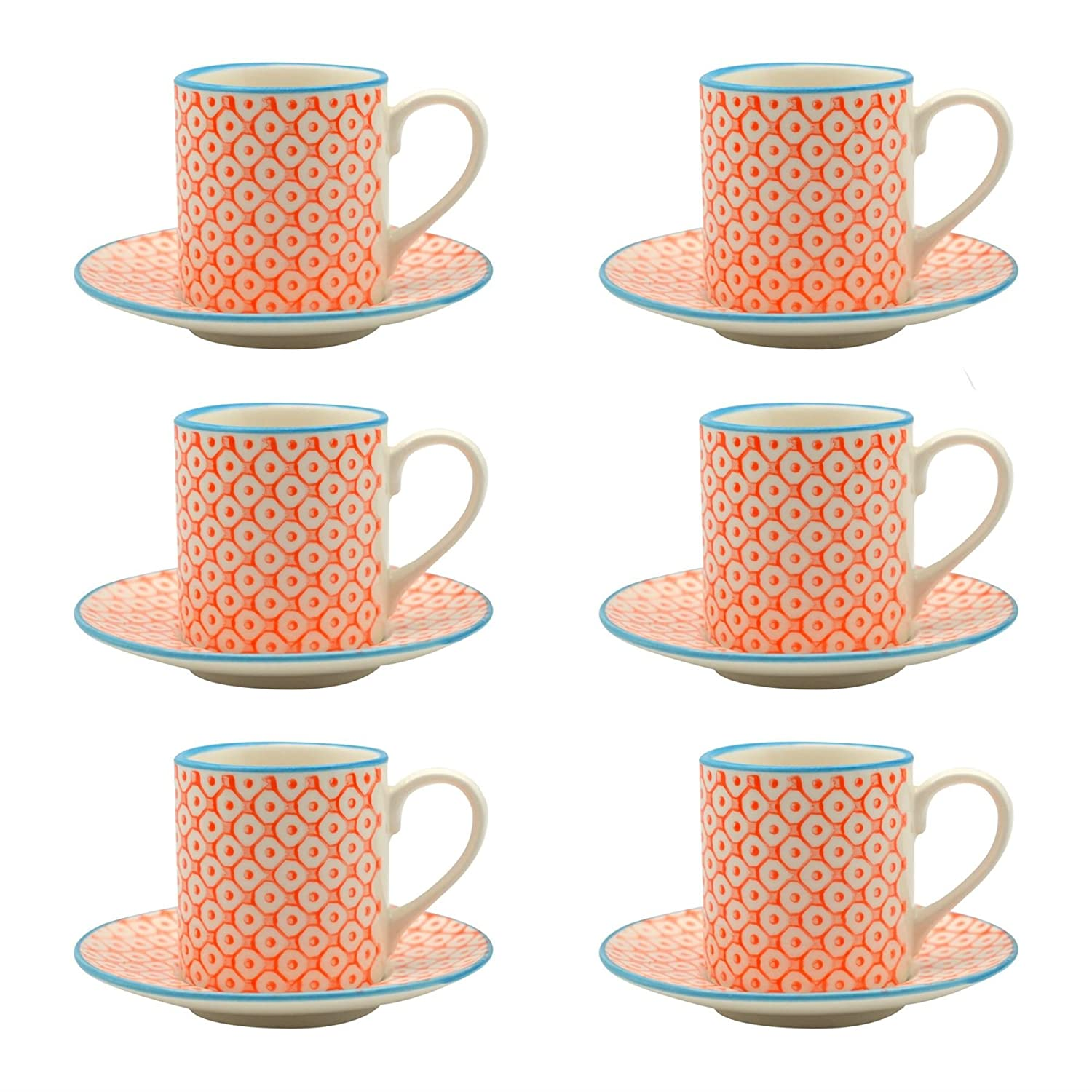 Patterned Espresso Cup and Saucer Set 65ml - Orange / Blue Print - Box of 6 Nicola Spring