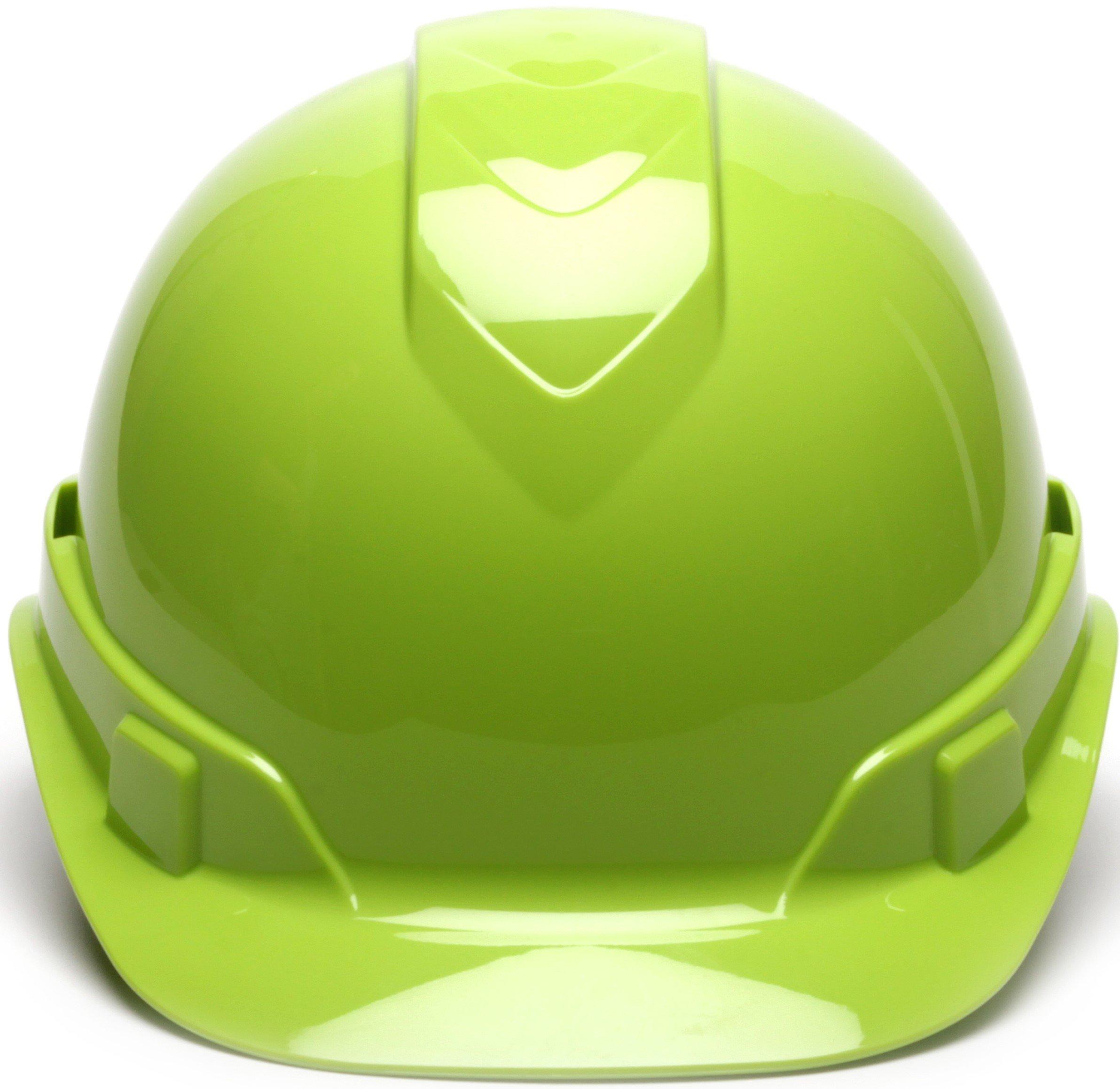 Pyramex Ridgeline Cap Style Hard Hat, 6 Point Ratchet Suspension, Hi Vis Lime by Pyramex Safety (Image #2)
