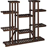 SONGMICS Plant Stand, Tall Solid Wood Plant Holder Rack with 17 Spots for Flower Pots, Large Multi-Tier Indoor Plant Shelf, f
