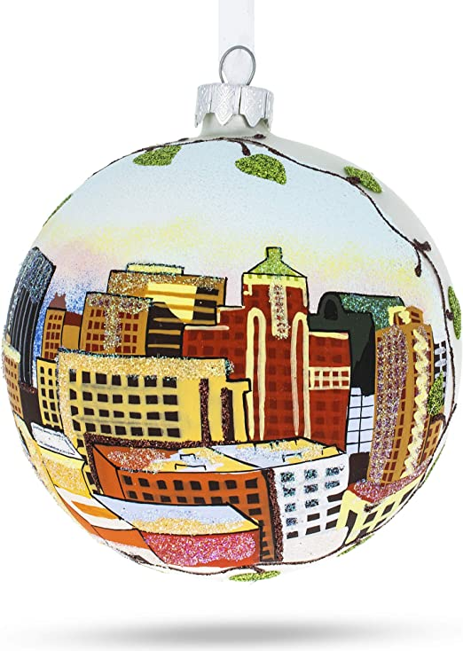 Amazon Com Bestpysanky El Paso Texas Glass Ball Christmas Ornament 4 Inches Home Kitchen