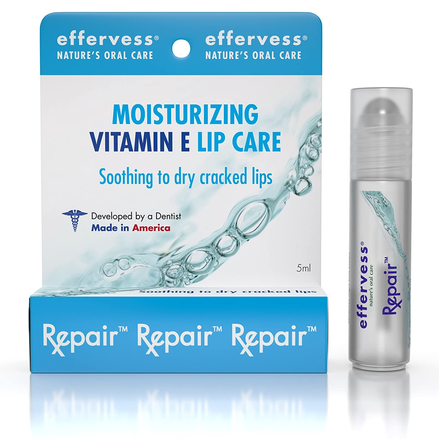 #1 Best Vitamin E Lip Balm - Lip Moisturizer - Beautiful Rollerball Application - Soothes & Hydrates Dry Cracked Lips - Helps Repair & Heal Damaged Skin - Made in the USA - Satisfaction Guaranteed Effervess