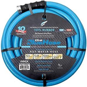 """BluBird AG-Lite Rubber Hot & Cold Water Rubber Garden Hose: Ultra-Light & Super Strong(5/8"""" x 50')- BSAL5850"""