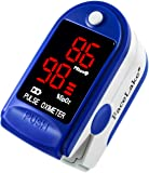FaceLake FL400 Pulse Oximeter with Carrying Case, Batteries, Neck/Wrist Cord - Blue