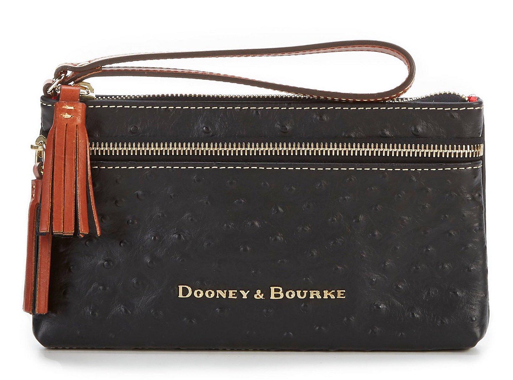Dooney & Bourke Ostrich Collection Double-Zip Tasseled Wristlet (Black)