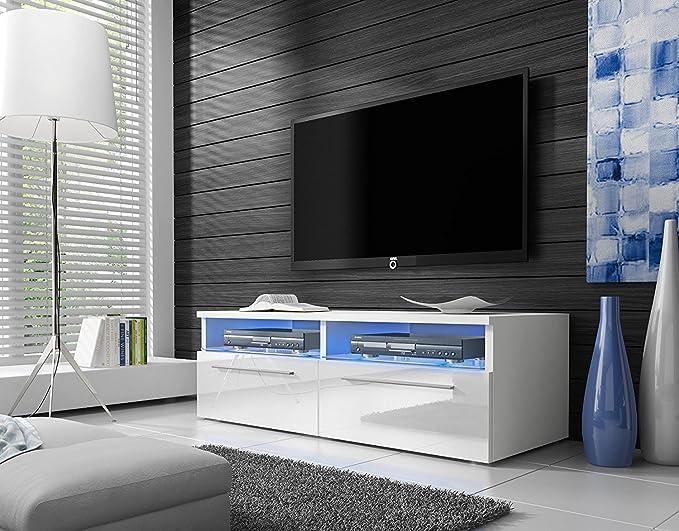 Siena – Mobile Porta TV / Supporto TV Moderno (100 cm, Bianco Opaco /  Pannelli Frontali Bianco Lucido con luci LED blu)