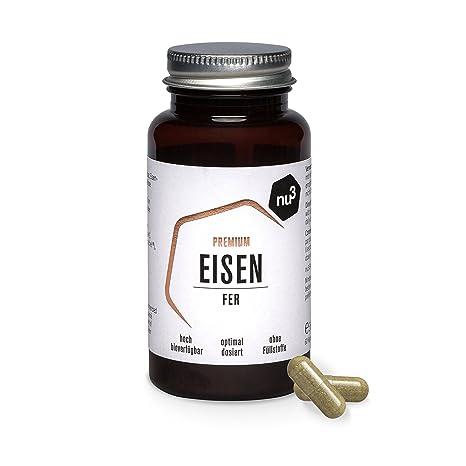 nu3 Hierro Premium con 60 cápsulas | 14mg de hierro + vitamina C | Dosis óptima