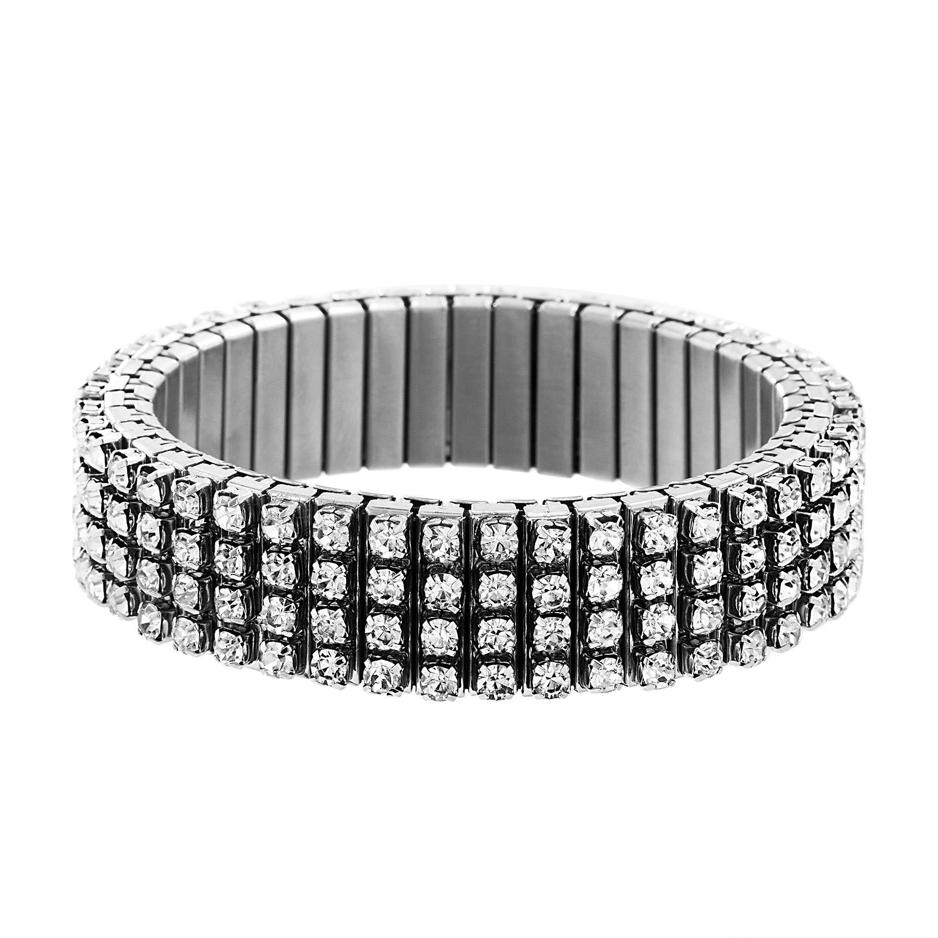 Steve Madden Women's Rhinestone Bar Design Gunmetal-Tone Stretch Bracelet, Expandable by Steve Madden
