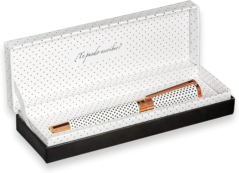 FILOU Bolígrafo premium roller recargable ideal para regalo mujer | incluye caja o estuche a juego | satisfacción garantizada | o Modelo Polka Dots