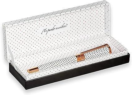 FILOU Bolígrafo premium roller recargable ideal para regalo mujer | incluye caja o estuche a juego | satisfacción garantizada | o Modelo Polka Dots: Amazon.es: Oficina y papelería