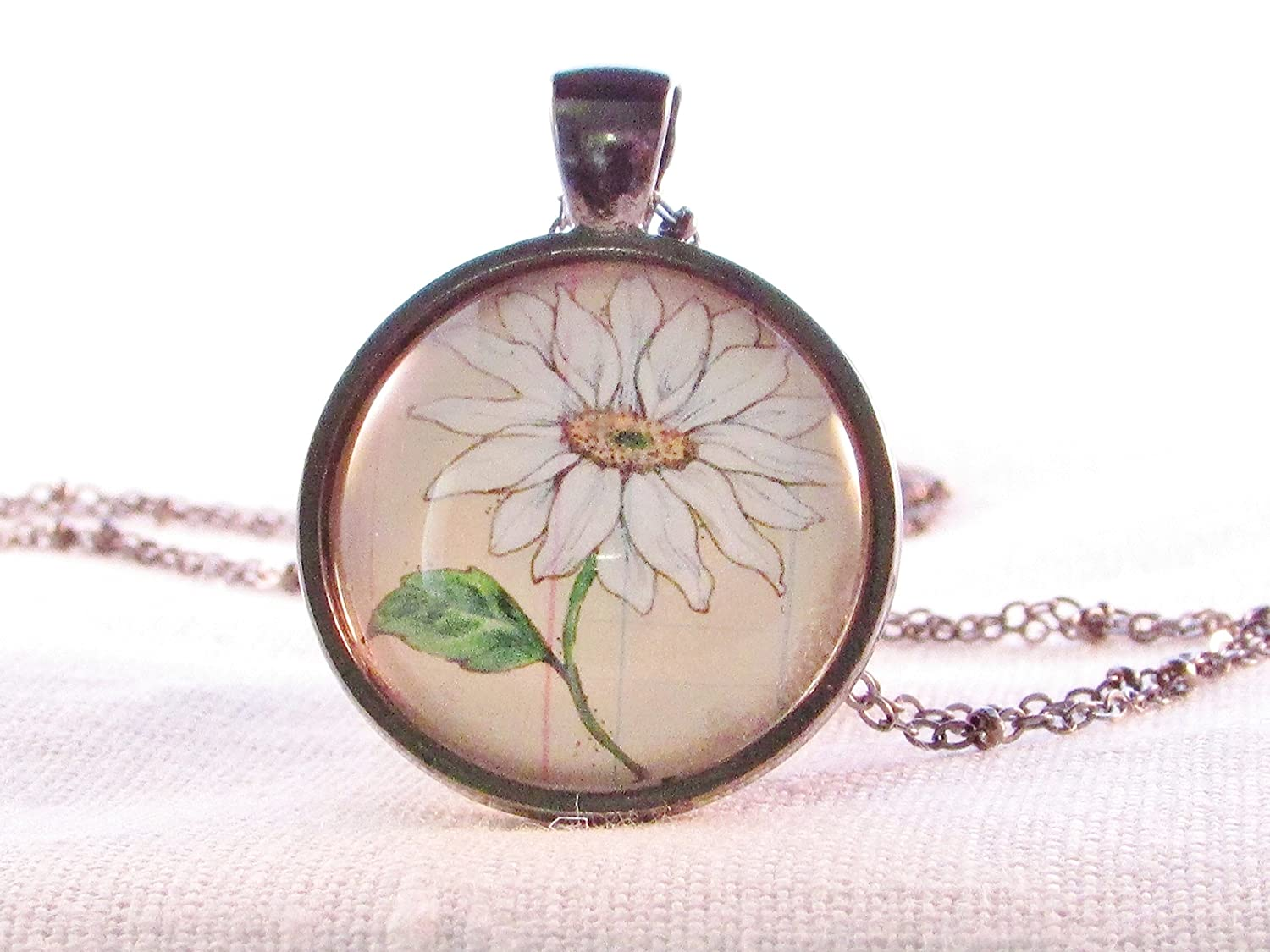 April Birth Month Necklace Pendant Daisy Round Glass Wearable Art Pendant