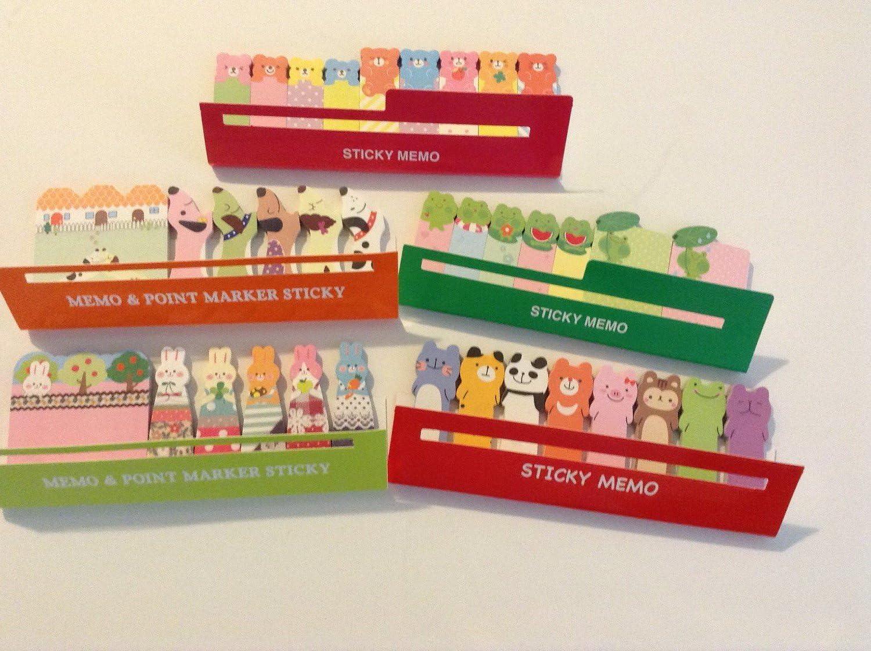 Animal r/éveill/ée amovible sticker autocollant Bookmark Marker Memo Drapeaux Index de tabulazione Sticky Notes 120/feuilles de style au hasard
