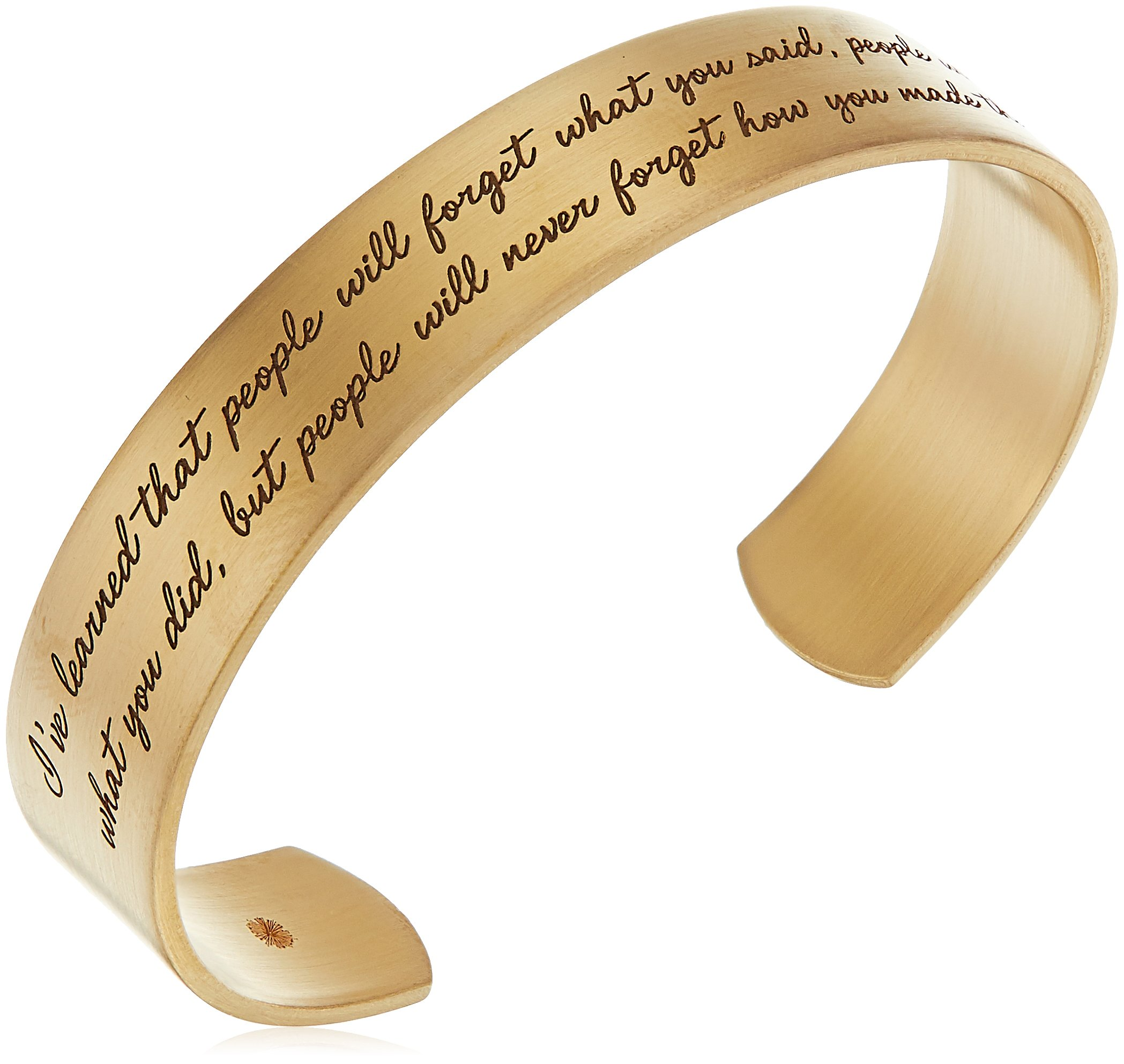 Dogeared ''Maya Angelou'' I've Learned That People Will Forget What You Said Medium Engraved Gold Cuff Bracelet