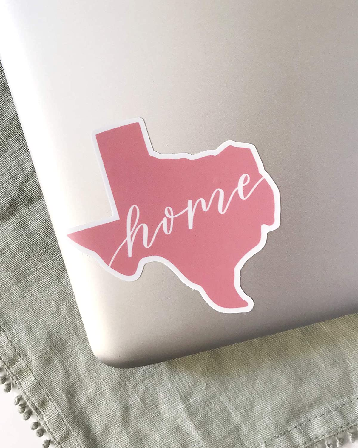 Girly Matte Vinyl Sticker for Water Bottle Car Pink Sticker in the Shape of Texas with Home Wording Laptop Size 3.5x3.5 in