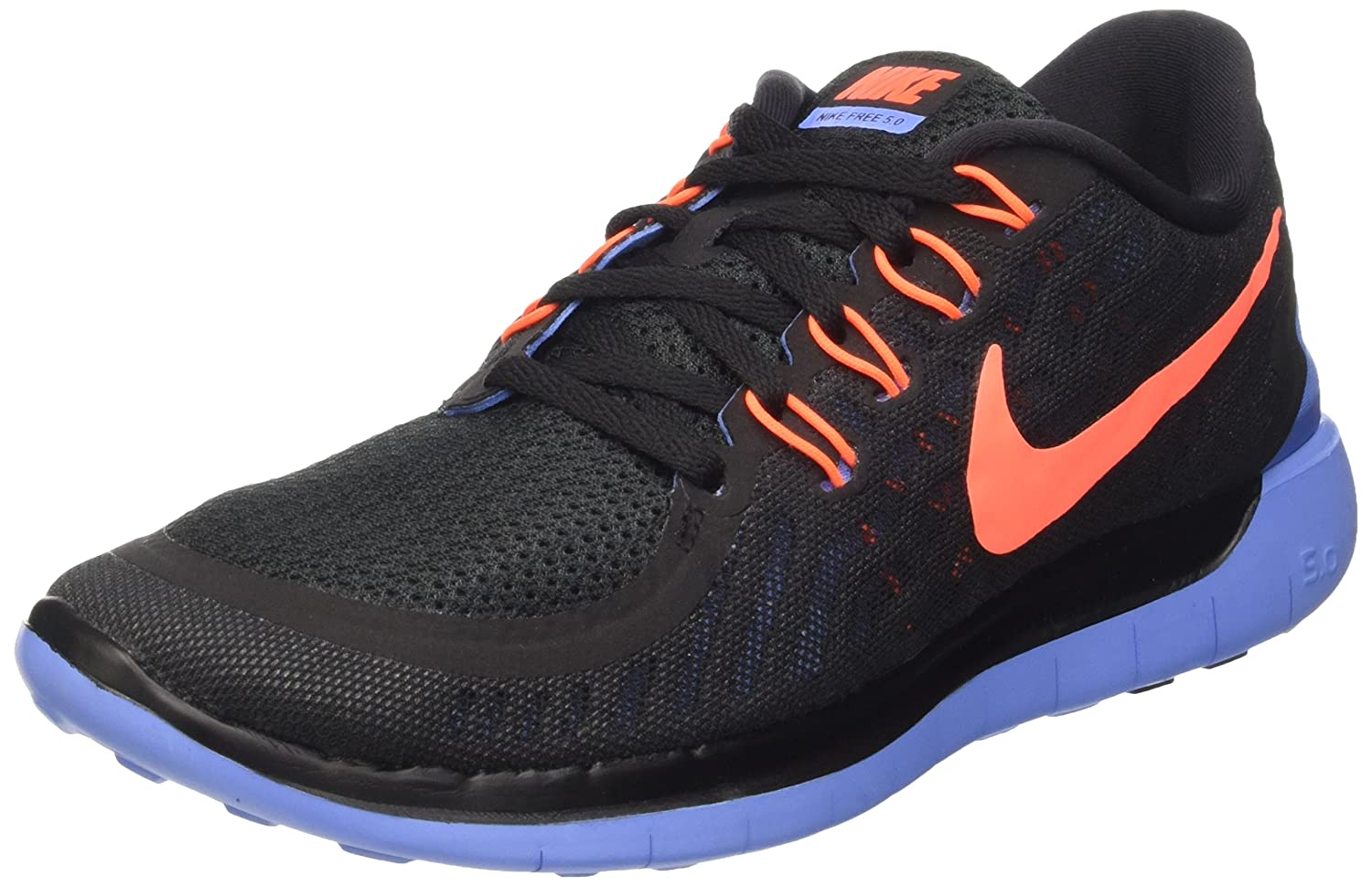 low priced 3655c b549a low cost amazon nike womens free 5.0 running shoes black blue hyper orange  size 9 m