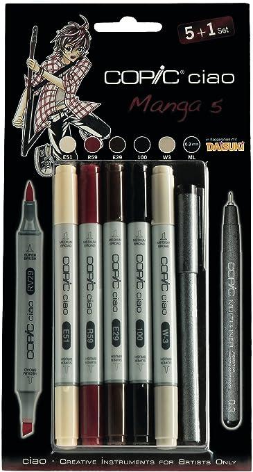 Copic Ciao - Juego de rotuladores (5 unidades, doble punta, incluye rotulador de punta fina 0,3 mm), tonos brillantes: Amazon.es: Oficina y papelería