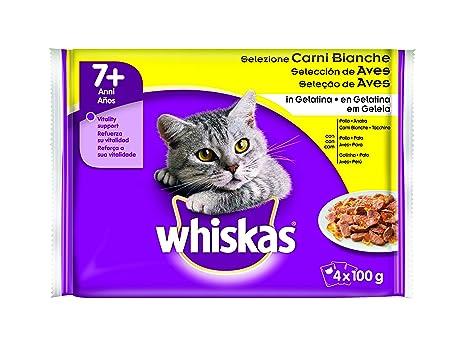 Whiskas Selección de Aves Bolsitas para Gatos, 7+ Años - Pack de 4 x