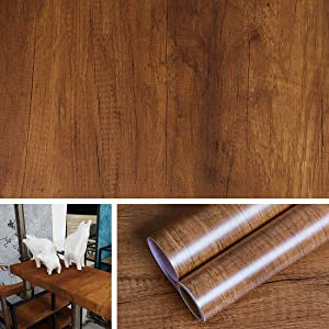 Livelynine 15.8x197 Inch Brown Distressed Wood Wall Paper Peel and Stick Kitchen Wallpaper Adhesive Shelf Liner Wood Paper for Wall Cabinet Liner Dining Room Old Furniture Decor Wall Decoration