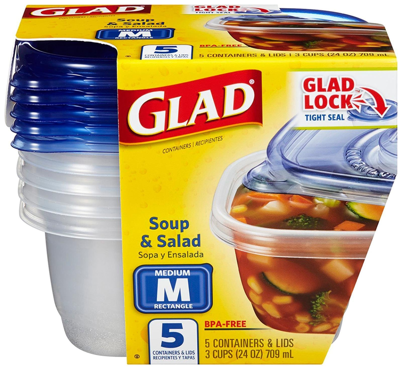 Amazoncom Glad Food Storage Containers To Go Lunch 32 Ounce 4