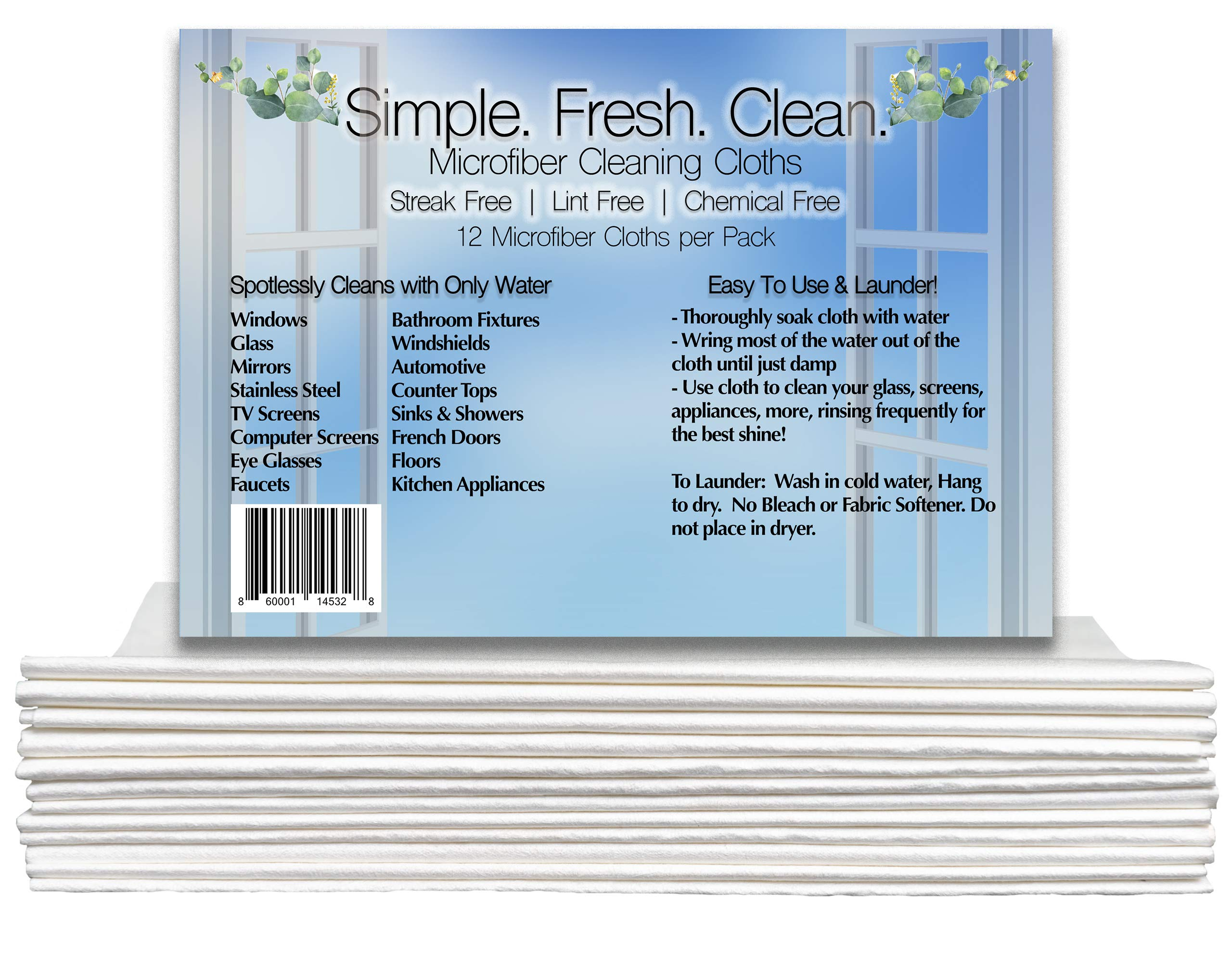 Streak Free Microfiber Cleaning Cloths White Multipack - Best Microfiber Cleaning Cloths for House | Specially Designed Microfiber Cleaning Cloths for Glass, Windows, Cars, Electronics (12) by Simple.Fresh.Clean.