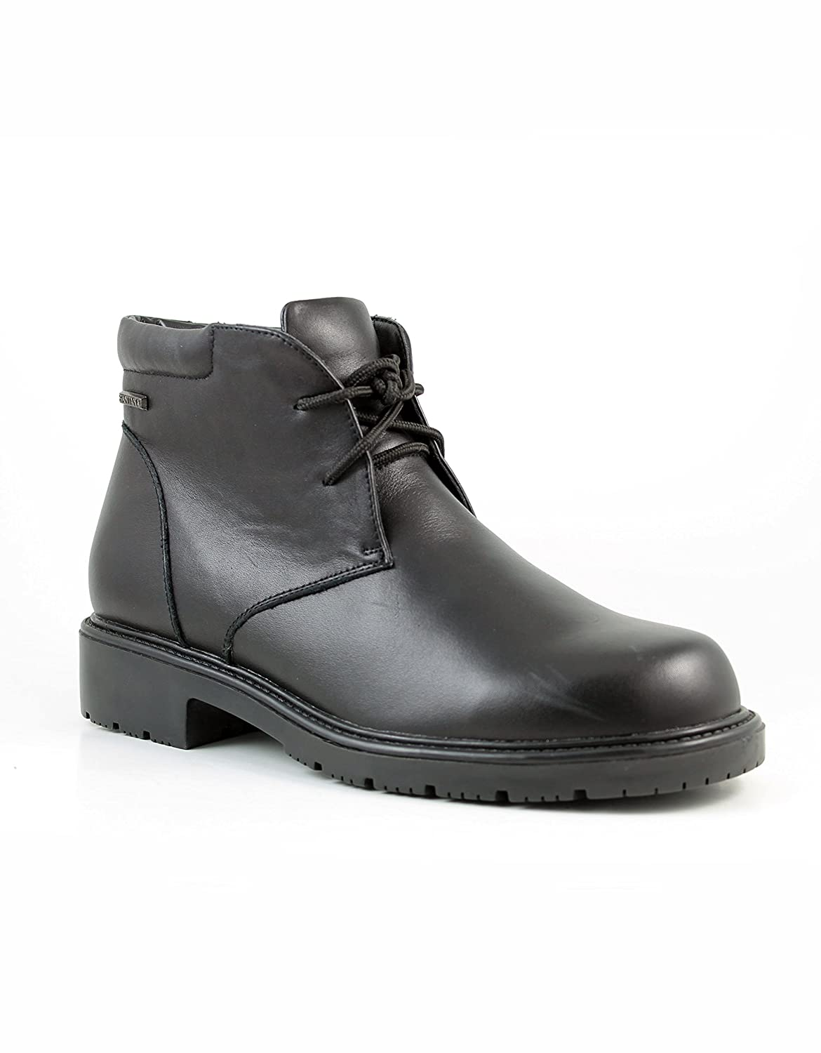 Mens mid cut Leather Winter Boot ANTOINE Lace Up with Faux Fur Lining